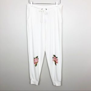 Chaser   Garden Floral Knee Joggers Sweatpants L